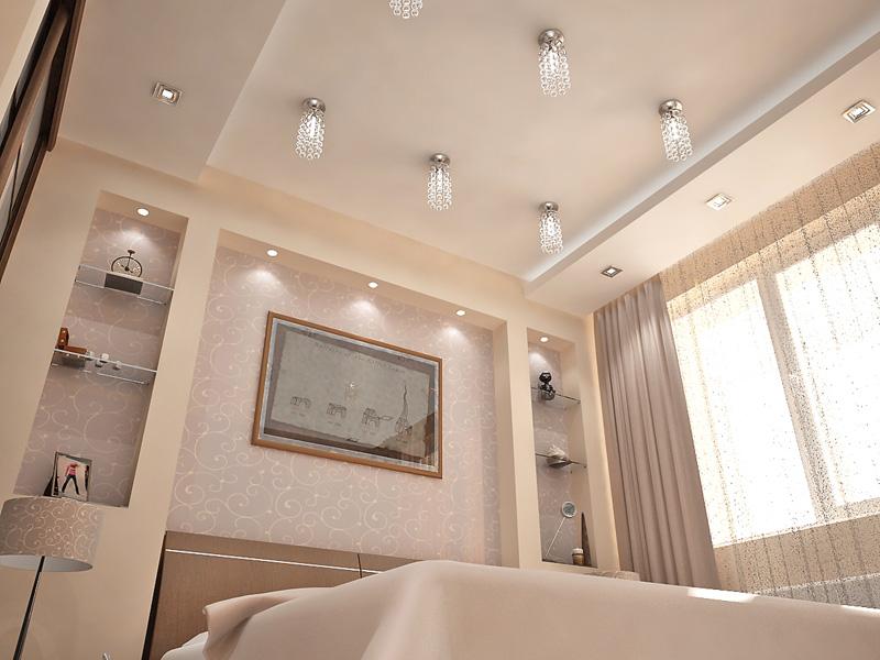 Дизайн потолков в спальнях